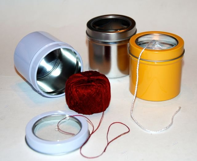 Perle Cotton Ball Thread Storage Dispenser Tin