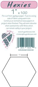Pre-Cut Iron On 1 inch Hexagons by Hugs 'N Kisses (100) U Can order
