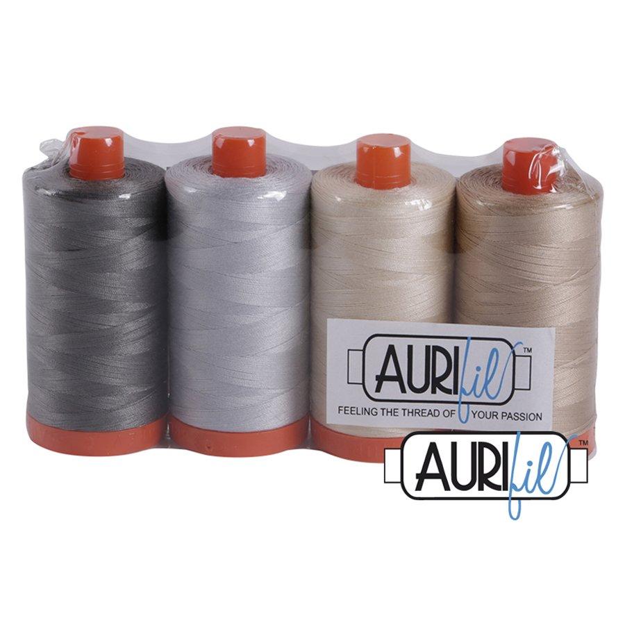 Aurifil 50 wt Cotton Thread NEUTRAL Set (4)