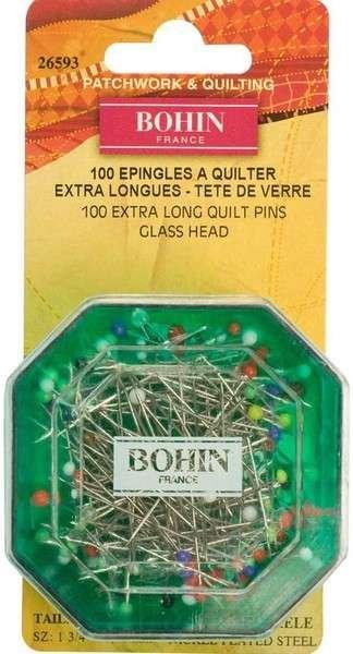 Bohin Pins Multi Colored Glass Head 100 ct