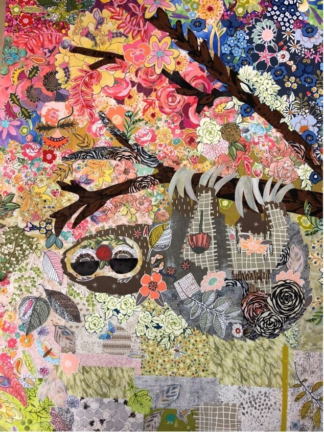 Pattern. Cloth Sloth Collage by Laura Heine