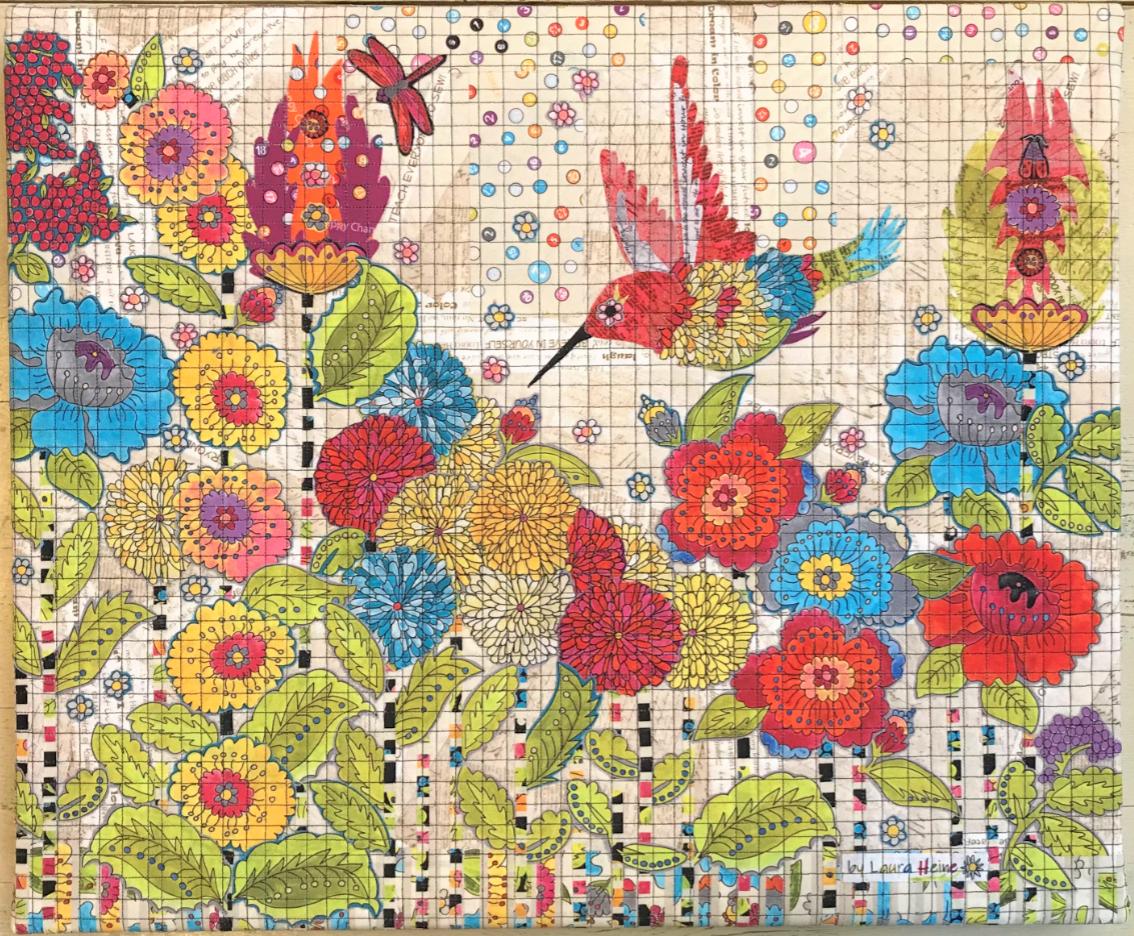 Pattern. NEW! Humming Bird Collage Quilt by Laura Heine
