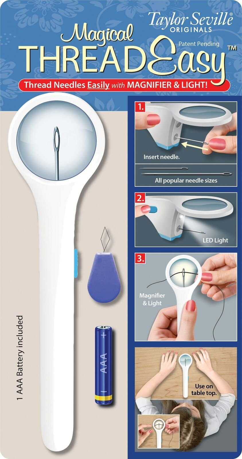 Lighted Needle Threader w. magnifier (Clearance)