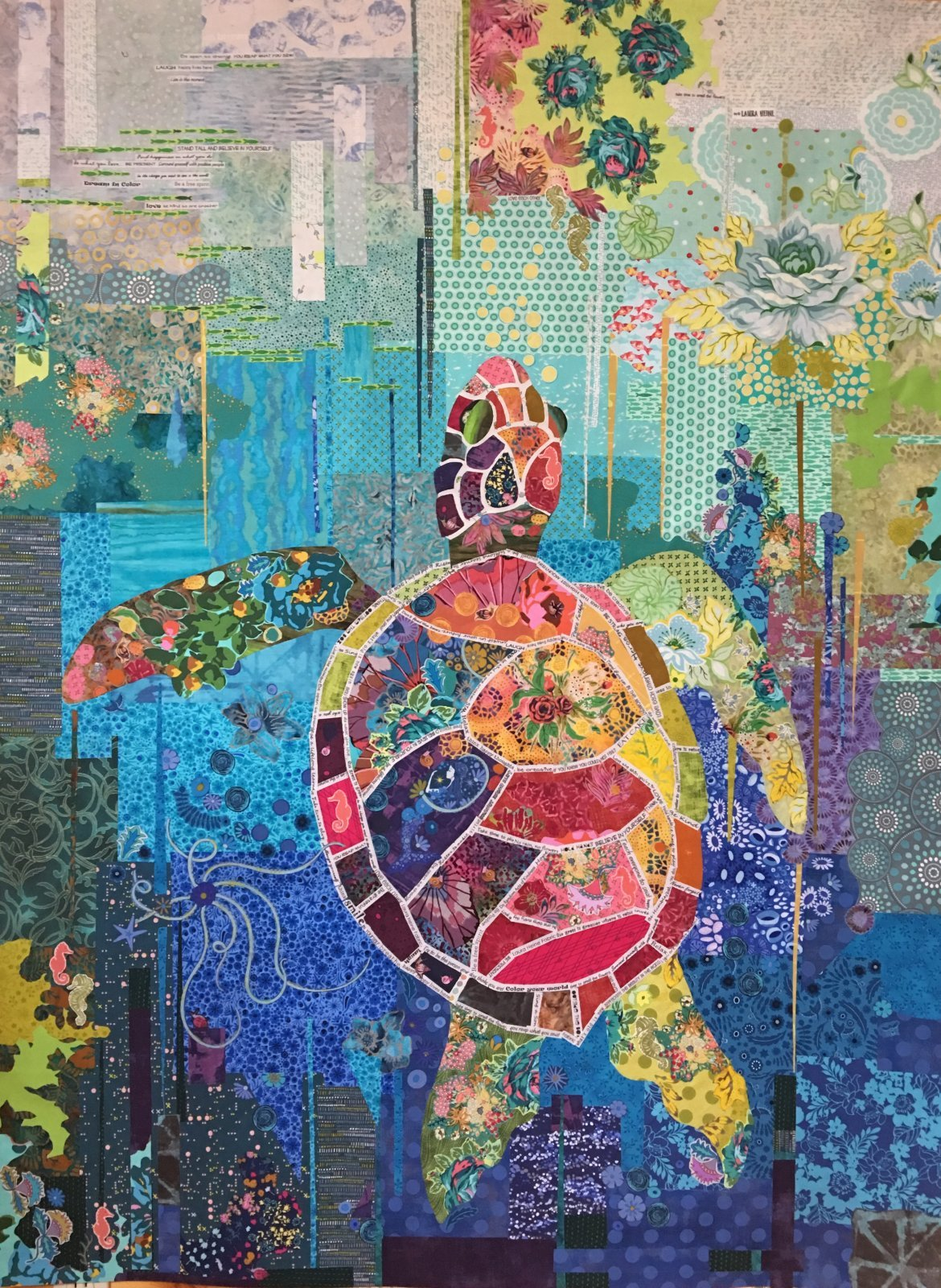 Pattern. Seawell Turtle Collage Quilt by Laura Heine