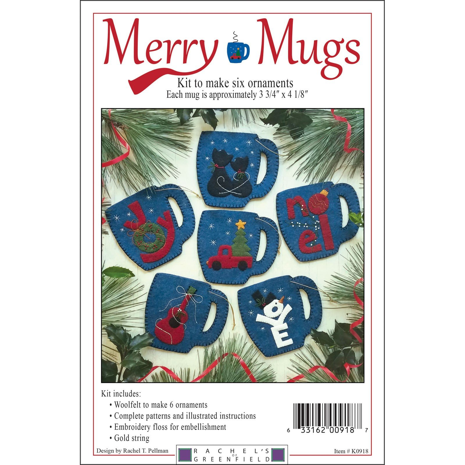Merry Mugs Woolfelt Ornament Pattern Kit