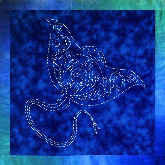 Sashiko Pre-Printed Manta Ray Panel by Sylvia Pippen