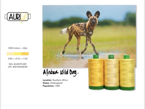 Aurifil Builders 40 wt. Mako Cotton YELLOWS African Wild Dog