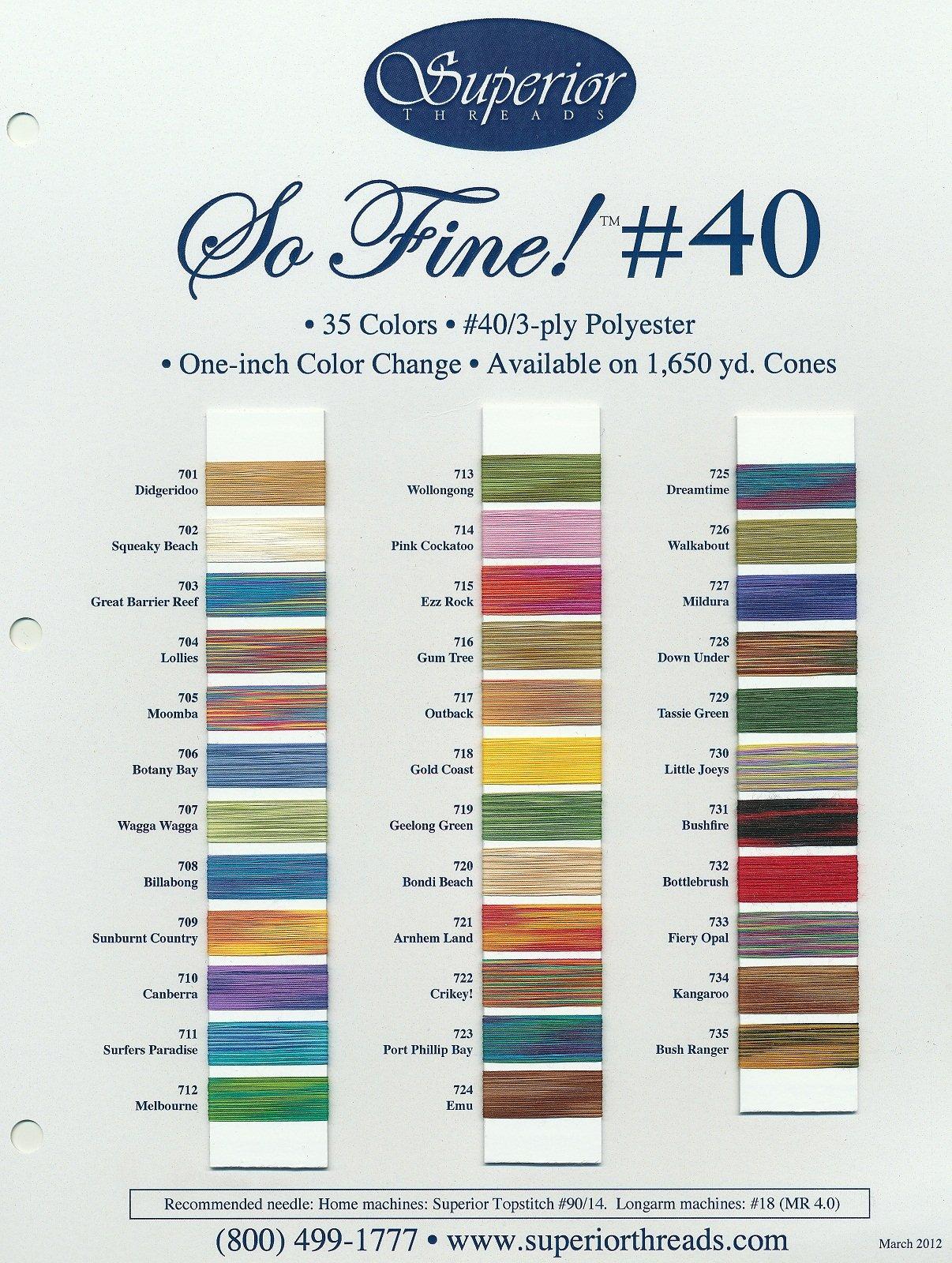 SO FINE #40 Color Card