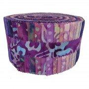 Fabric. Java Batiks Purple Party Pre-Cut strips Jelly Roll (40)