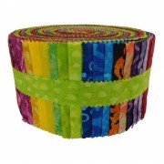 Fabric. Java Batiks Rainbow Pre-Cut strips Jelly Roll (40)
