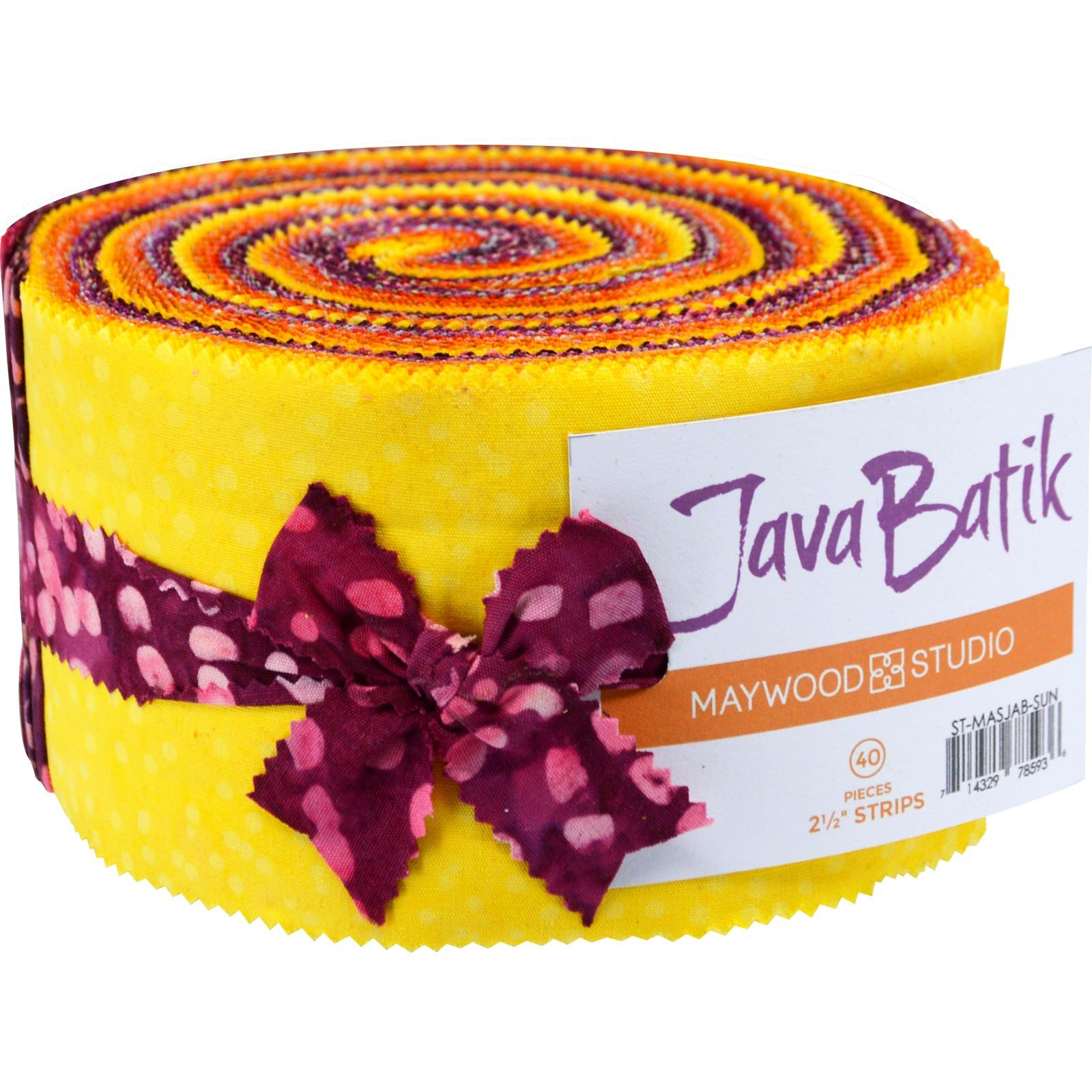 Fabric. Java Batiks SUNSET Pre-Cut strips Jelly Roll (40)