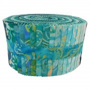 Fabric. Java Batiks Turquoise Pre-Cut strips Jelly Roll (40)