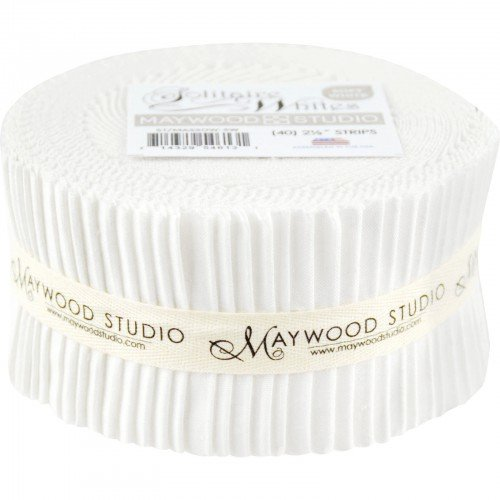 Fabric. Solitaire Ultra/Soft Whites Pre-Cut strips Jelly Roll (40)