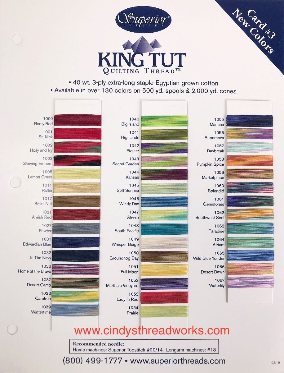 KING TUT Cotton Thread Color Card. 3rd Set