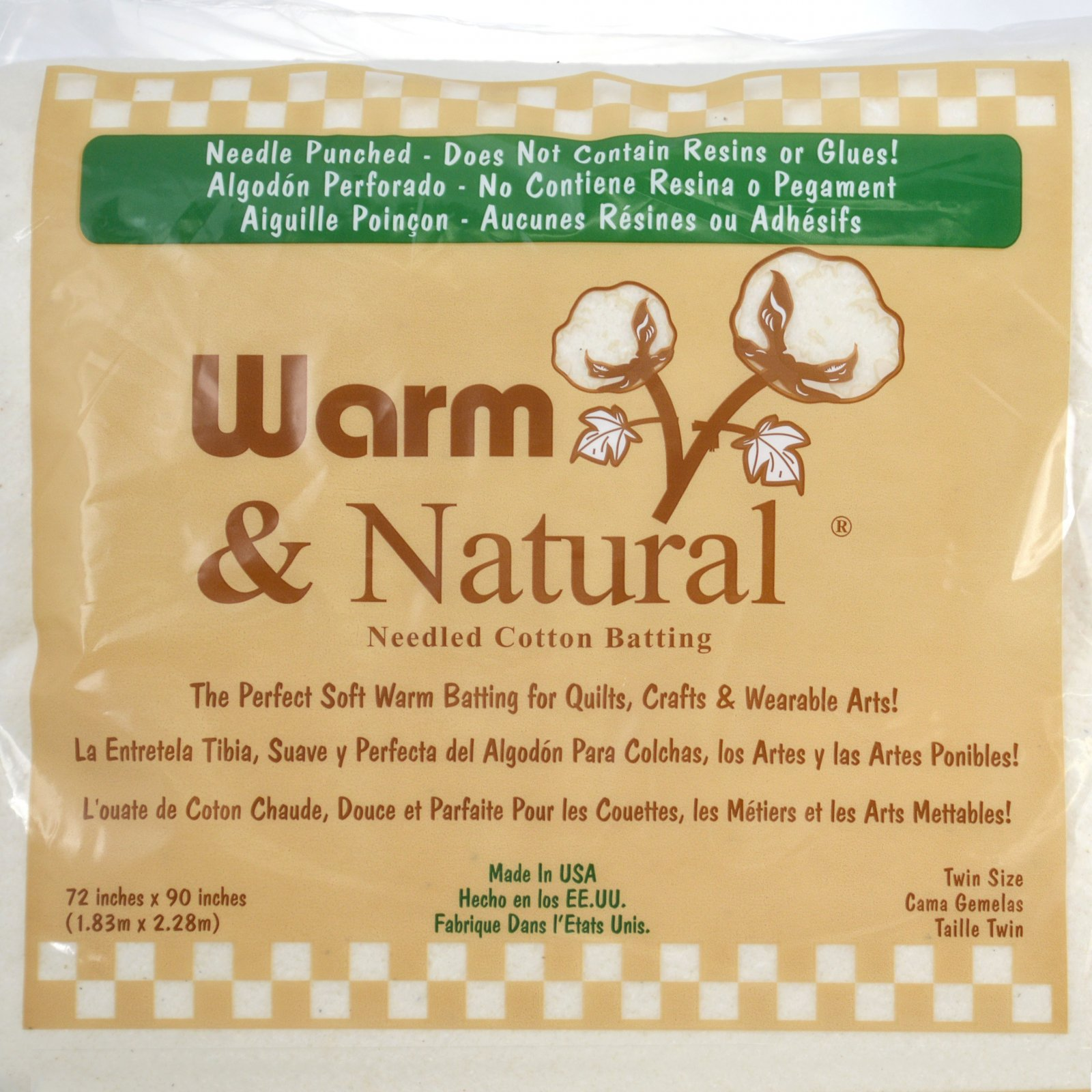 Warm & Natural 80/20 Batting Single Size 72 x 90