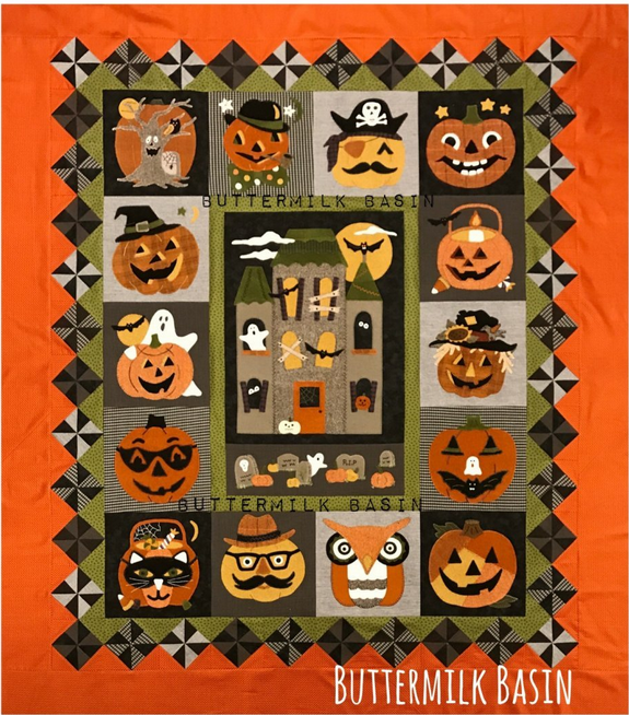 Haunting Halloween Pumpkin Quilt BOM $32.99/ month
