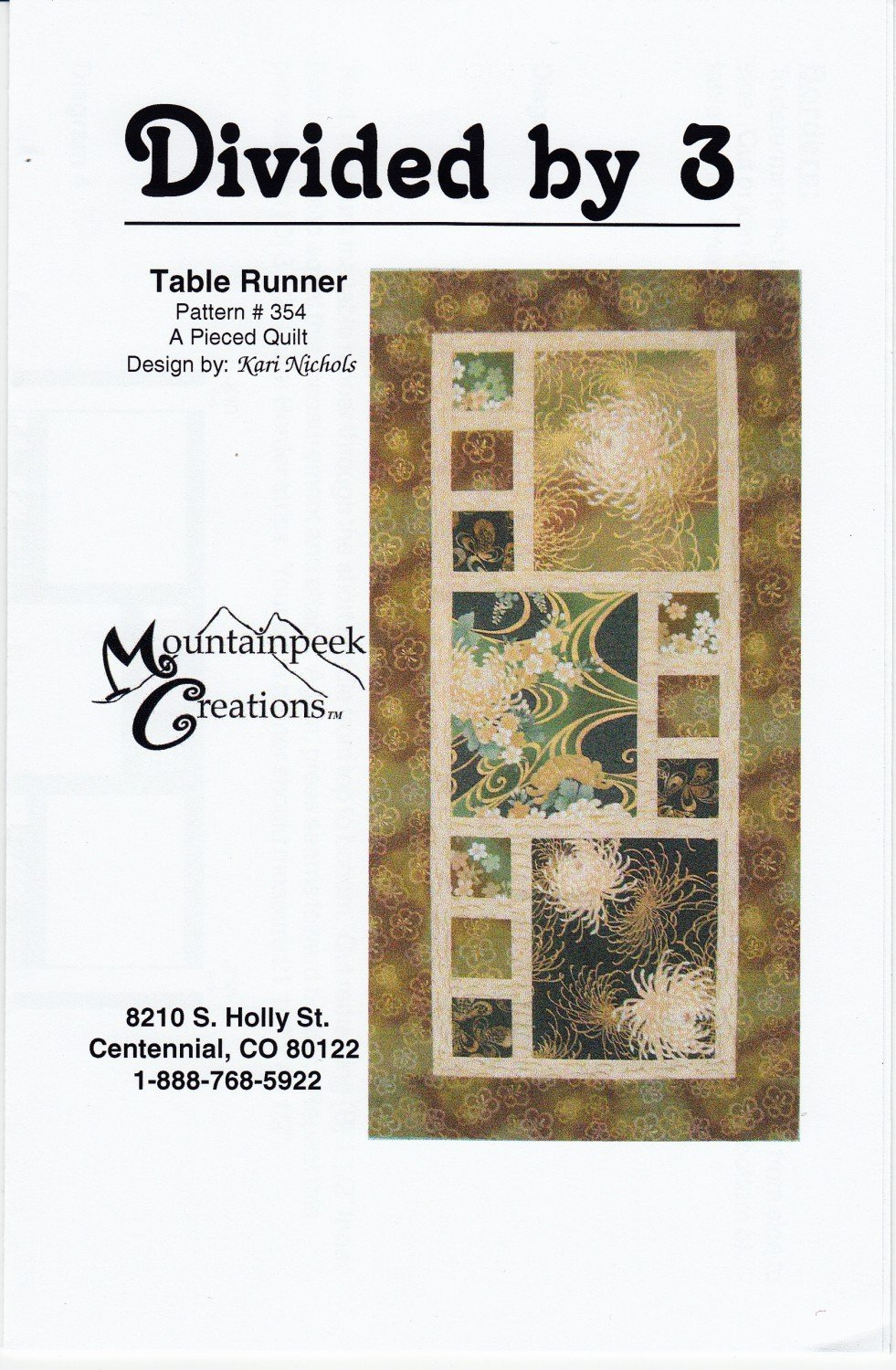 Divided By 3 Table Runner*+