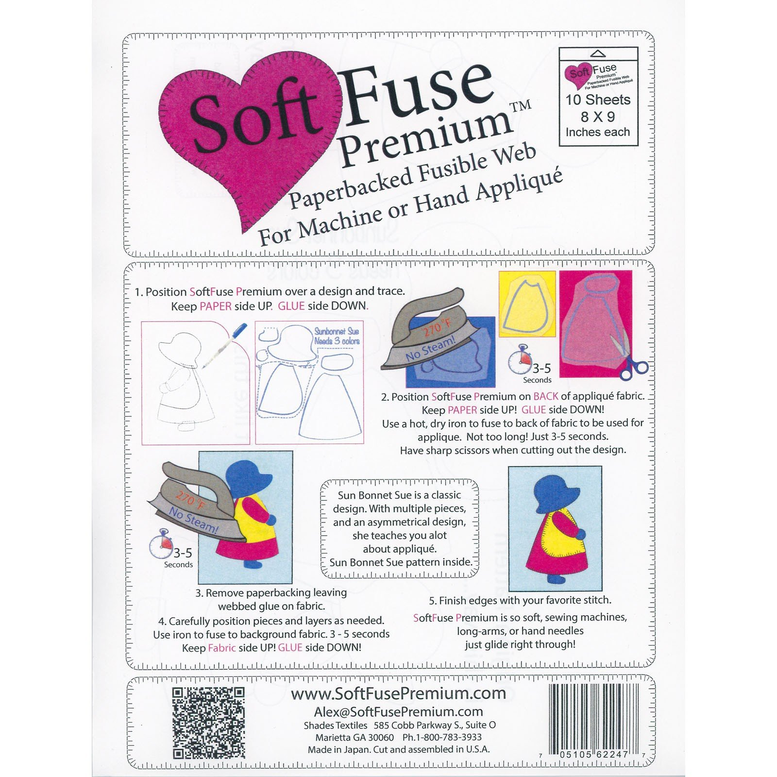 Soft Fuse Paper Backed Fusible 8x9*