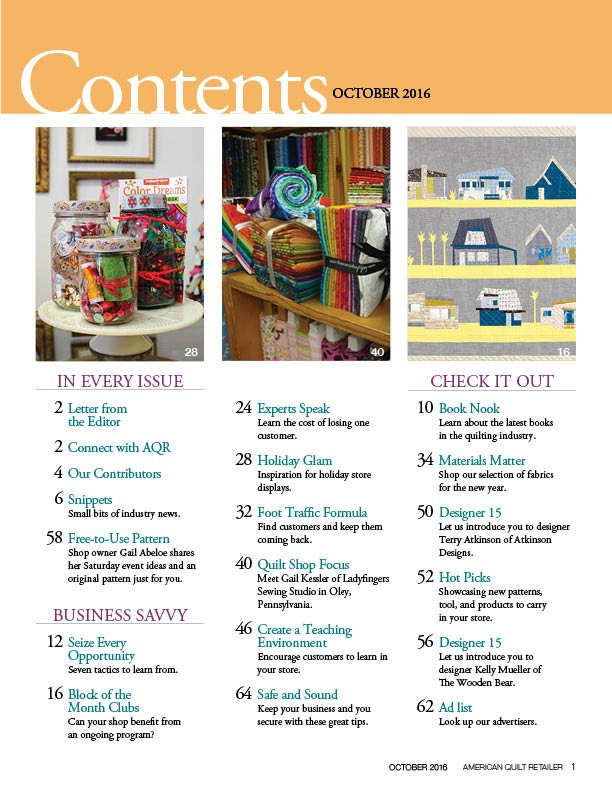 October 2016 issue Table of Contents