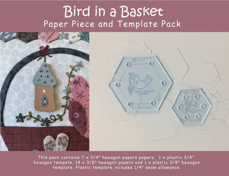 Bird in a Basket Paper Pieces and Template Pack