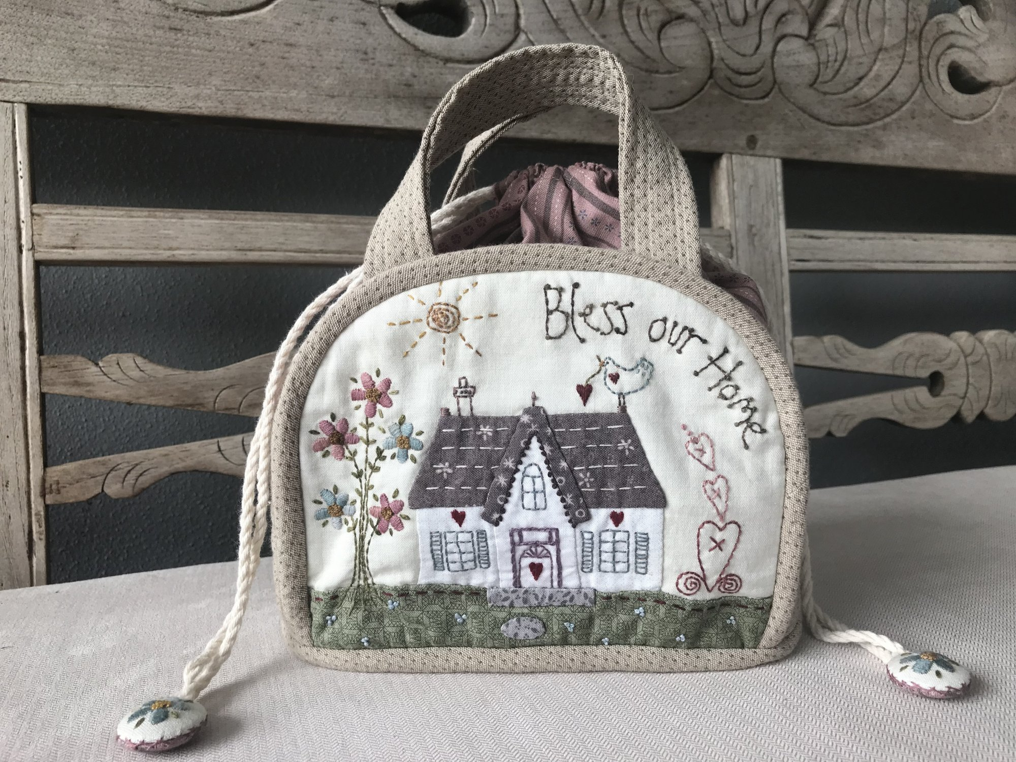 Bless our Home Drawstring Bag - pattern