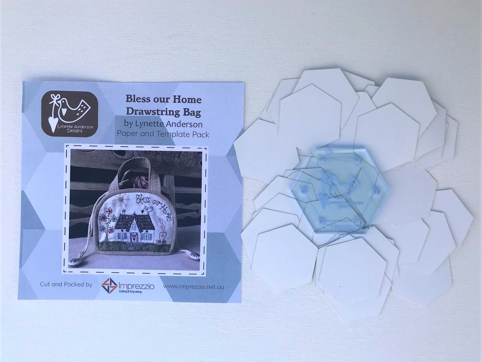 Bless Our Home Drawstring Bag Paper Pieces and Template Pack
