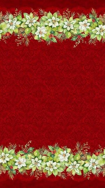 Deck the Halls - Red Poinsettia Border Print