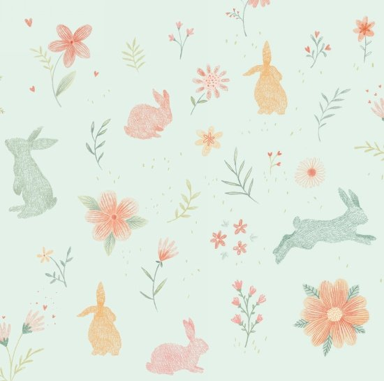 Bunny Tales - Bunnies & Flowers on blue