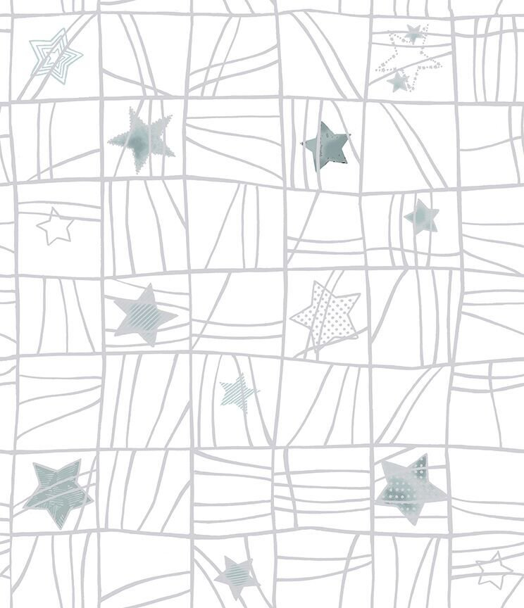 Glimmer - White with silver stars/squares