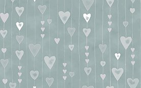 Glimmer - Silver hearts on Silver Background