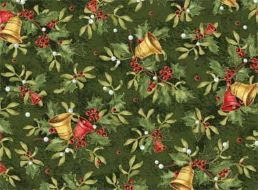 Christmas Bells - bells and holly on green background in metallic
