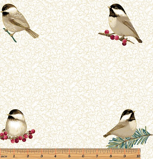 My Little Chickadee - overall chickadee print on parchment backgroundr