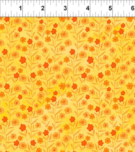 Floral Menagerie - Bright Yellow with Orange Flowers