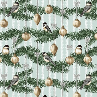 Home for the Holidays - chickadee on pine bough