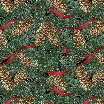 Home for the Holidays - pinecones & ribbon