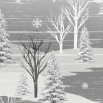 Frosty Folks - Flannel - Trees in gray & white