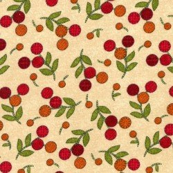 Flower Patch Flannel - cream with berries
