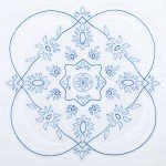 Blue Floral - Stamped hand embroidery