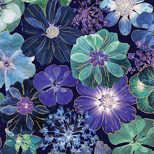 Floral Impressiongs - Flowers on Navy