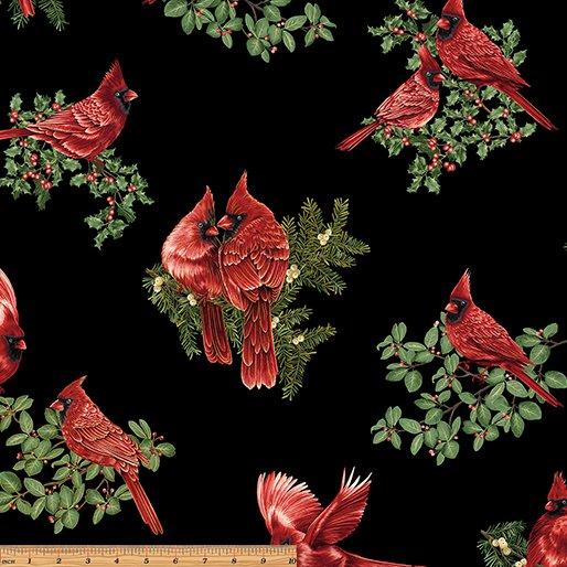 A Festive Season - backyard cardinals black