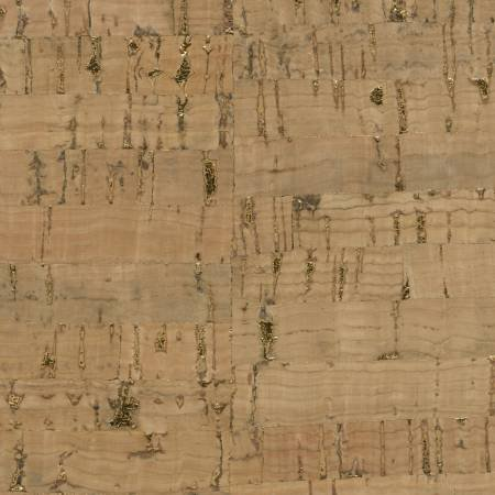 Cork Fabric - Natural with Gold