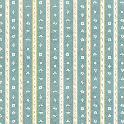 My Secret Garden - Daisy Scroll Stripe Floral - Blue