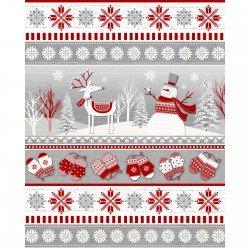 Frosty Folks - Flannel - Border print
