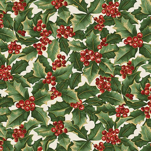 A Festive Season - Holly on cream background