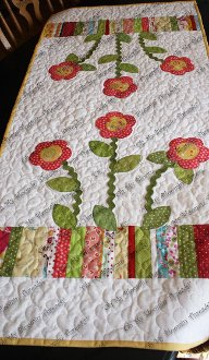 Scrappy Spring Flowers Table Runner