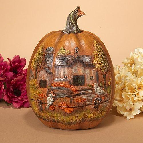 Harvest Pumpkin - Wheelbarrow and crow on fence