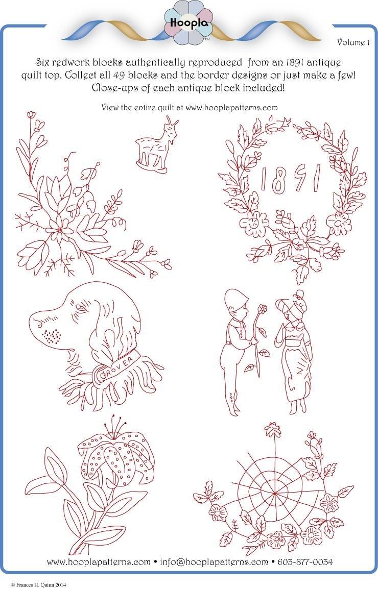 1891 Redwork Quilt pattern Vol 1