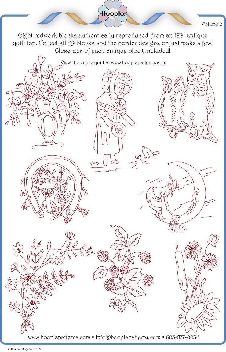 1891 Redwork Quilt pattern Vol 2