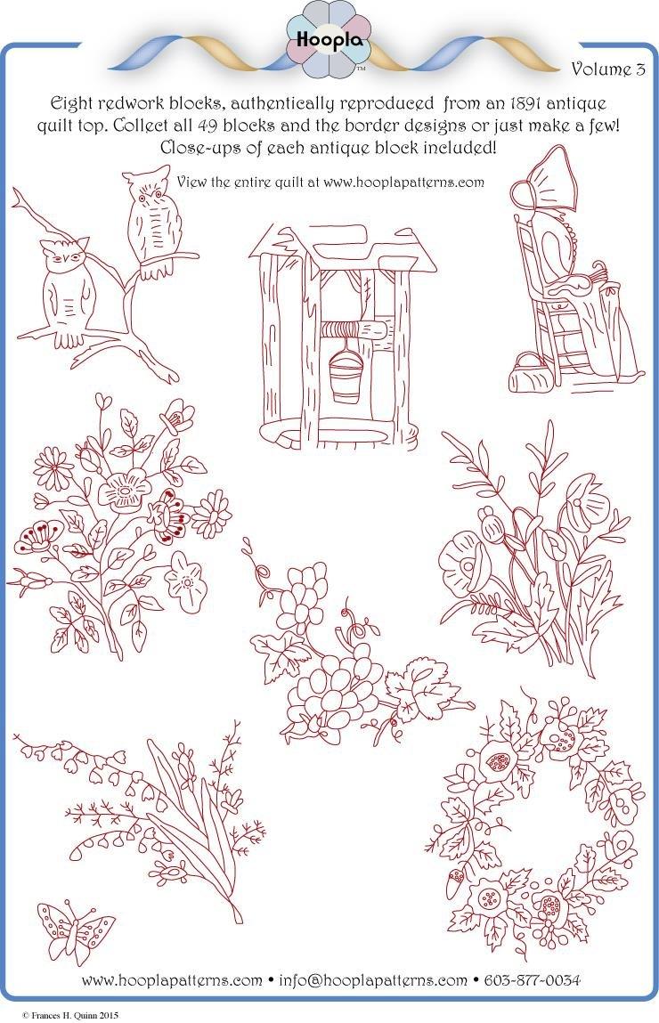 1891 Redwork Quilt pattern Vol 3