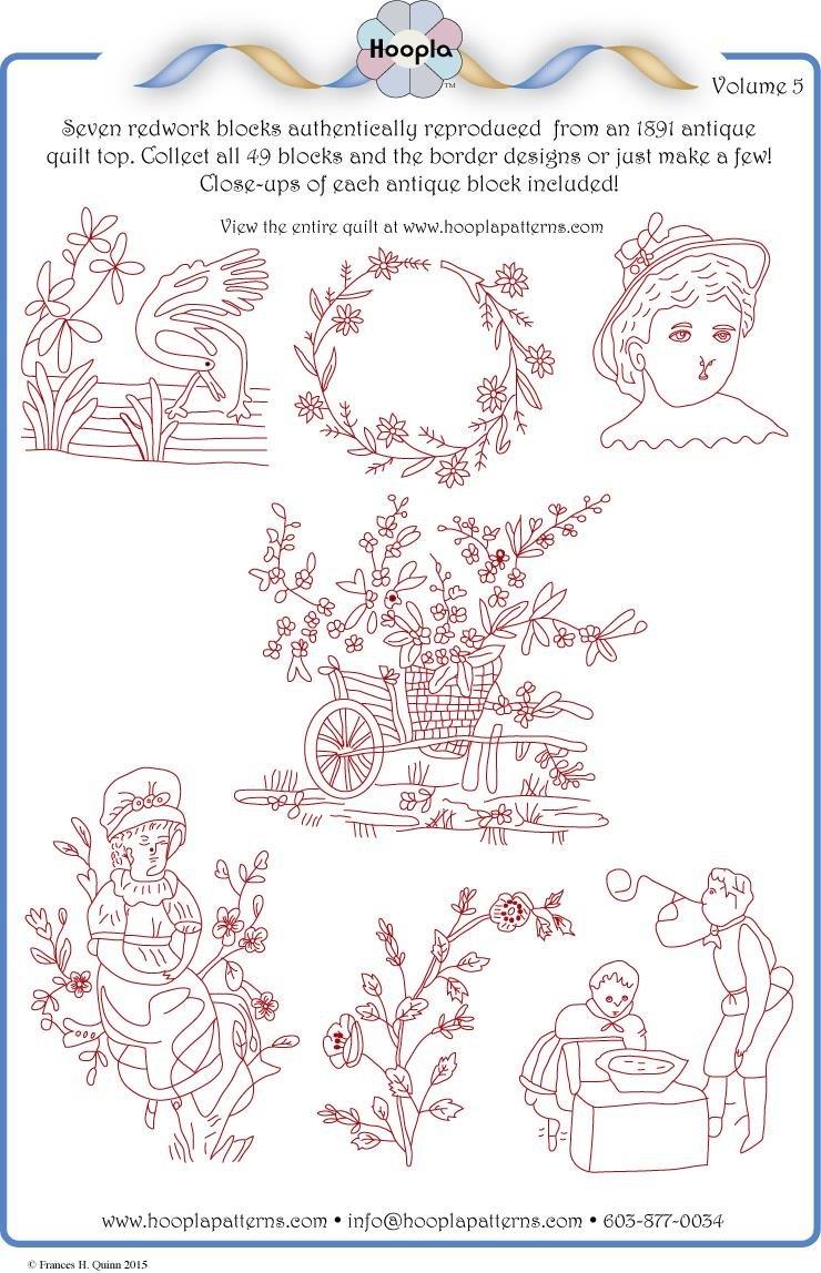 1891 Redwork Quilt pattern Vol 5
